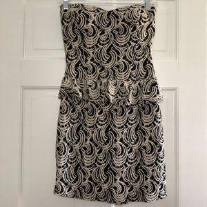 Strapless Black and White Peplum Dress